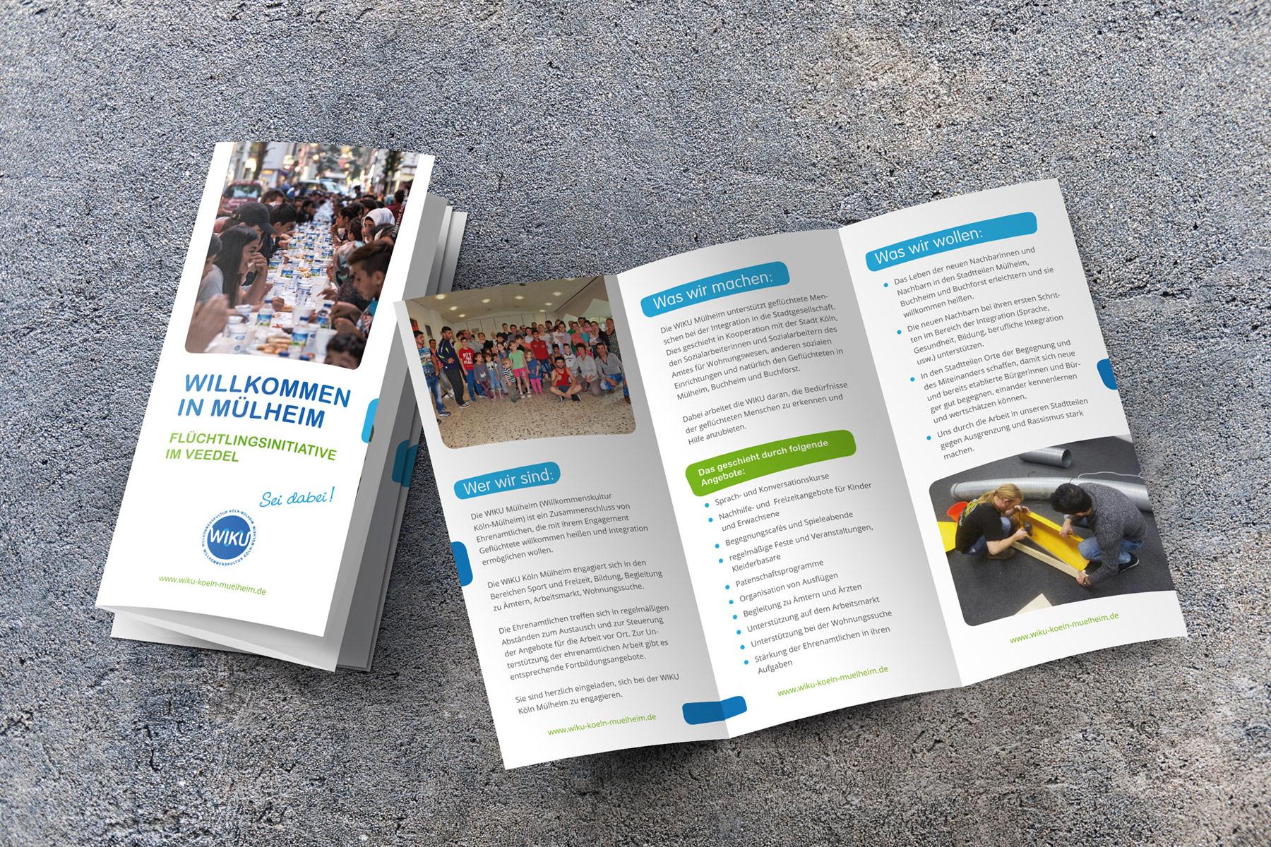 Wickelfalz-Flyer – Flüchtlingsinitiative